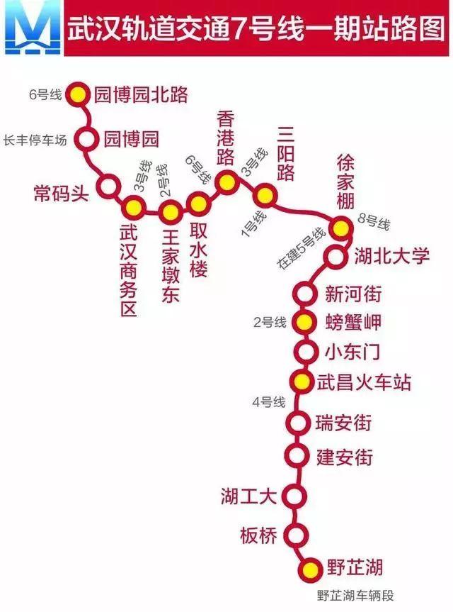 武汉地铁7号线站点及规划图(一期 二期)