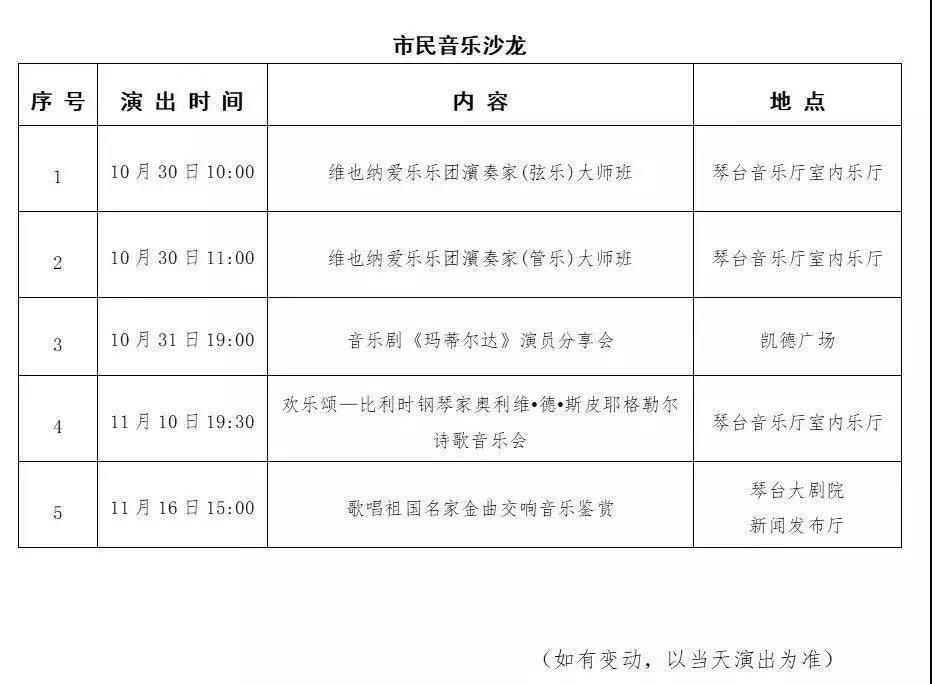 第八届琴台音乐厅节目单(附购票入口)