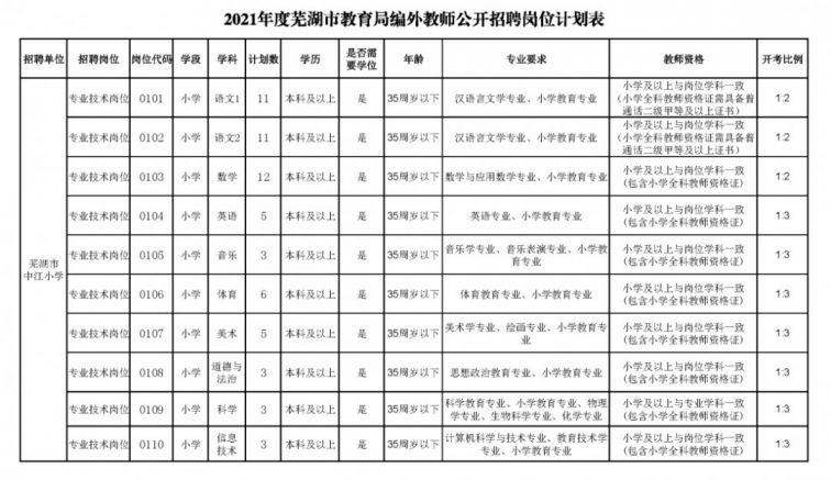 2021年度蕪湖市教育局公開招聘編外教師公告