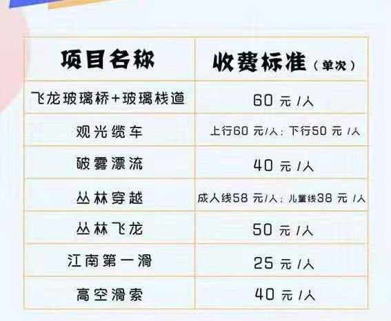 马仁奇峰体验项目收费标准