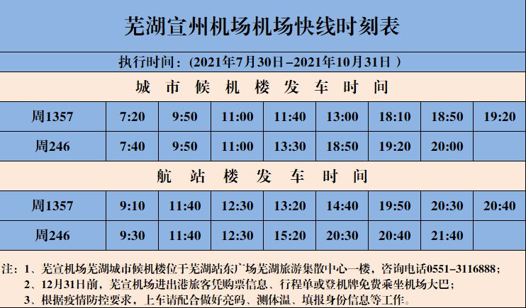 蕪湖到蕪宣機場機場大巴時刻表(更新中)