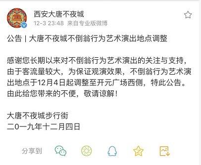 2019年12月4日起西安大唐不夜城不倒翁行为艺术演出地点调整