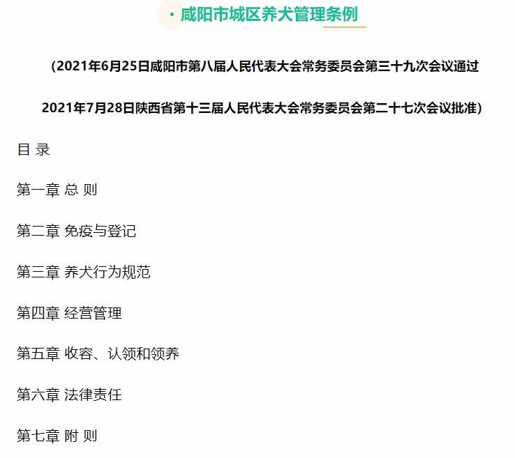 咸阳市城区养犬管理条例(原文)