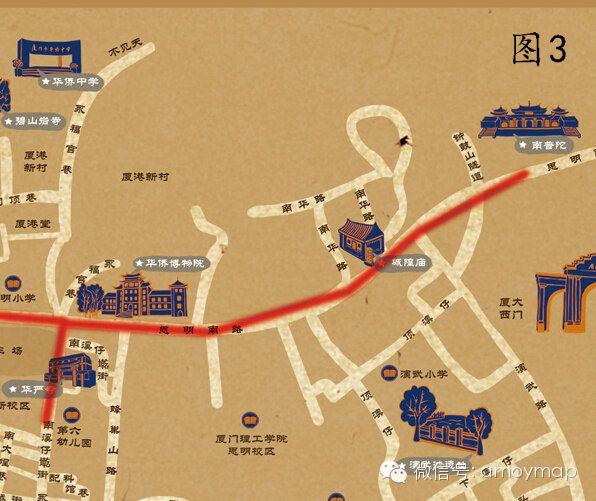 寺庙路线图(《老厦门街巷手绘地图》)