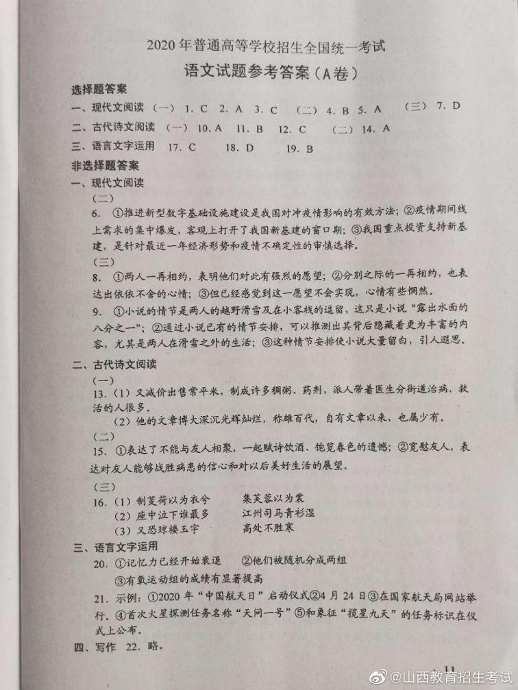 2020福建高考理综全国卷1试卷及真题 真题解析(附高考估分入口)