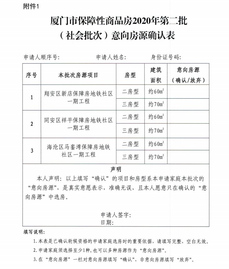 2020厦门市保障性商品房第二批(社会批次)申请材料