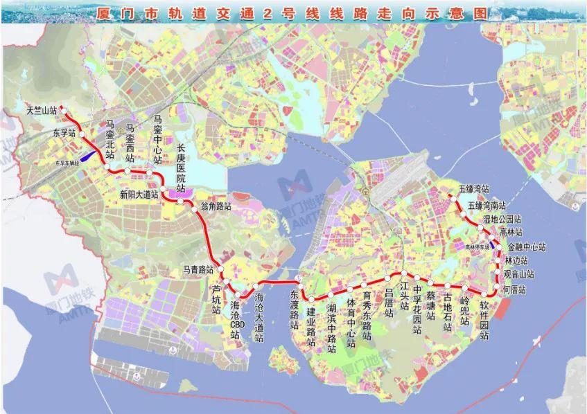 厦门地铁2号线线路图(始发站 终点站)
