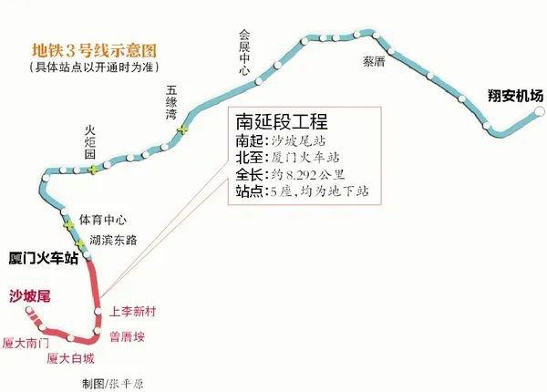 厦门地铁3号线南延线站点位置详细
