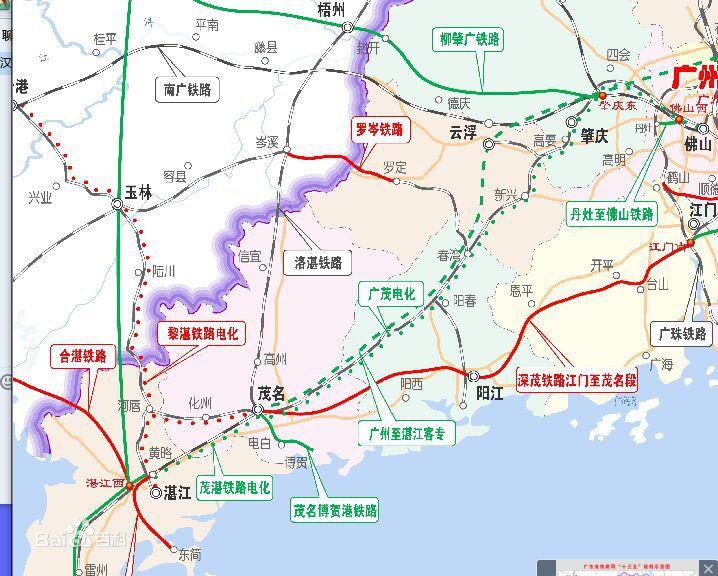 广州至湛江高铁线路图