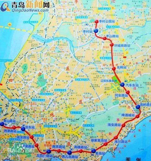青岛地铁M2线线路图图片