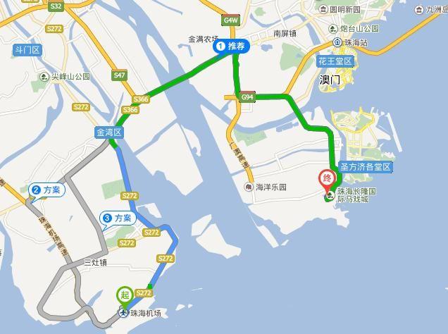 由地图我们知道,珠海机场到长隆海洋王国,无论是打车还是坐公交
