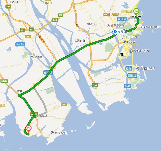 耗时:1小时    自驾路线:   从珠海市区出发,经人民东路-海滨北路