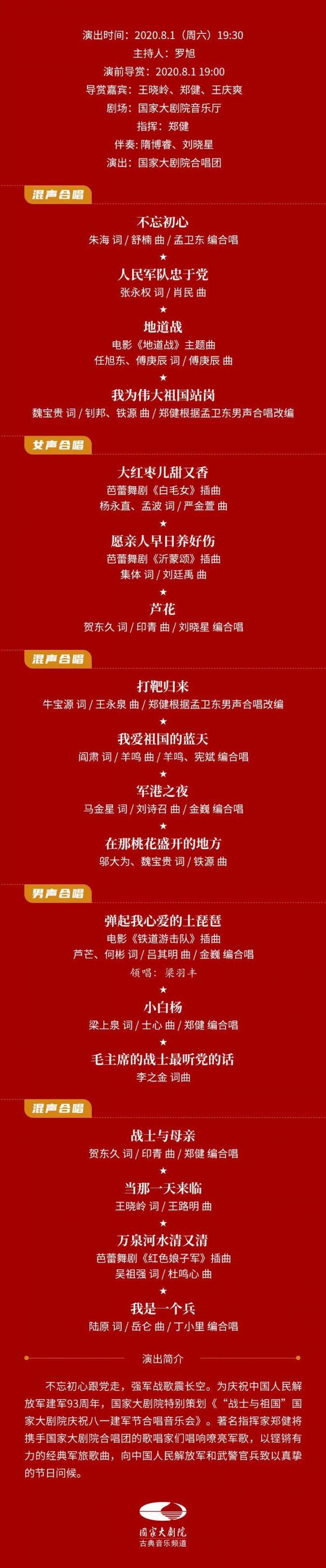 2020战士与祖国庆祝八一建军节合唱音乐会(嘉宾阵容 节目单)
