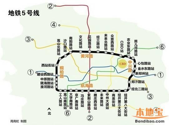 郑州地铁5号线最新线路图