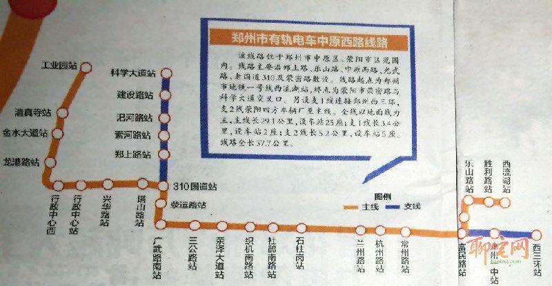 郑州有轨电车中原西路线线路图