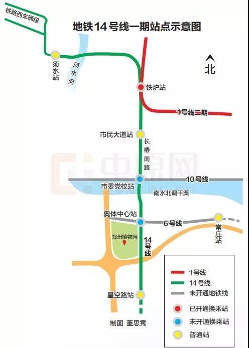 郑州地铁14号线一期线路图