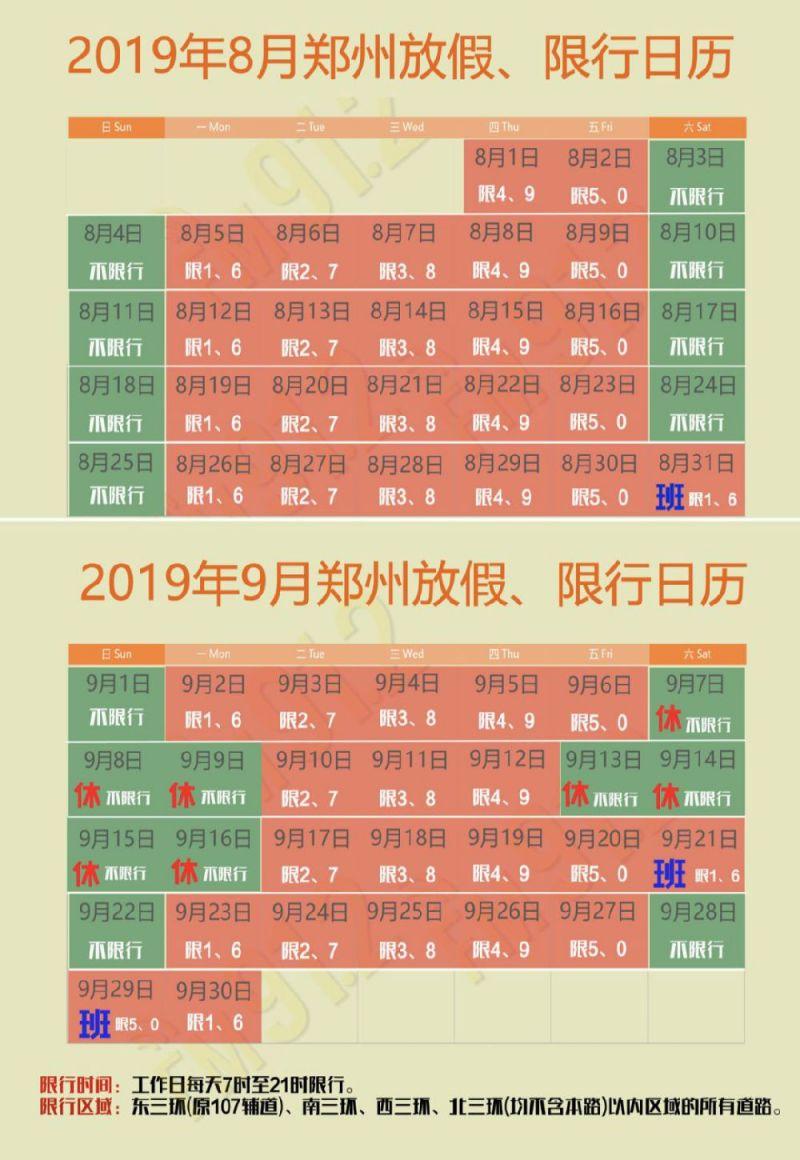 郑州9月1日限行吗?